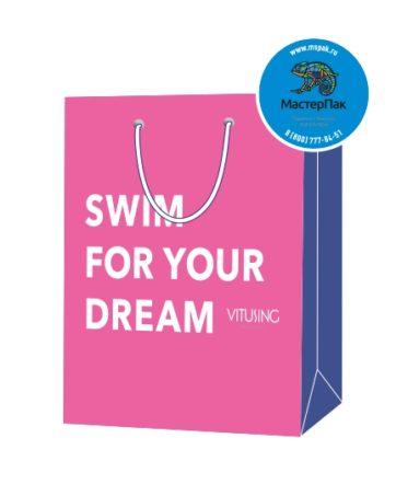 Пакет подарочный, бумажный, 22*24, 200 гр.,с люверсами, ручка шнур, с логотипом Swim for your dream, Москва