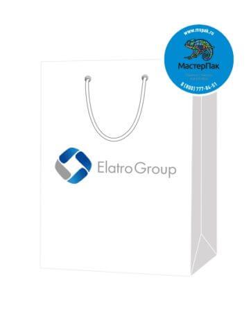 Пакет подарочный, бумажный, 25*36, 200 гр.,с люверсами, ручка шнур, с логотипом Elatro Group, Москва